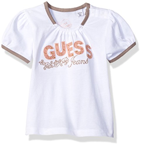 Guess Baby Clothes - GUESS Baby Girls' Short Sleeve Studded Tee and Sparkle Heart Tulle Skort Set, True White, 18M