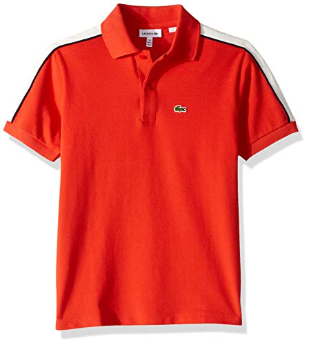 Lacoste Big BOY Athleisure Shoulder Striped Pique Polo, SALVIA/Flour, 8YR