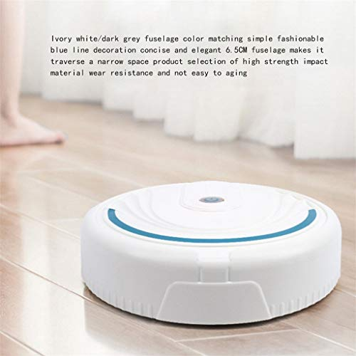 Automatic Robot Vacuum Cleaner,Smart Robot Vacuum Cleaner Auto Floor Cleaning Toy Sweeping Sweeper for Pet Hair, Hard Floor and Low Pile Carpets (White)