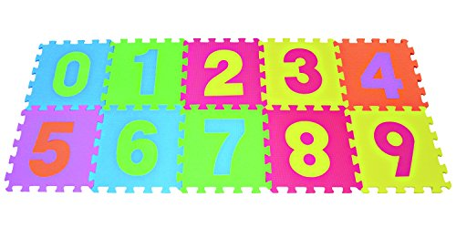 3 Floor Puzzle Mat - Numbers Puzzles Play Mat 10-tile Colorful EVA Foam Kids Floor by Poco Divo