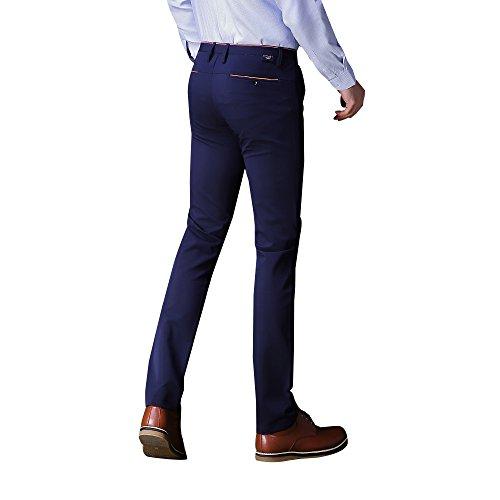 Détendu Devant Plat Coupe Classique Hommes Étoiles Vague Pant 057 Bleu