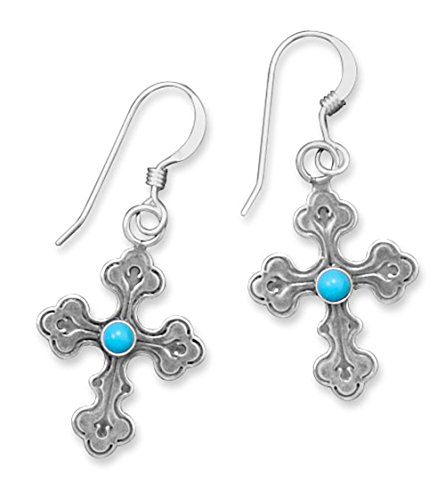- Oxidized Sterling Silver French Wire Earrings, Cross, Sleeping Beauty Turquoise, 7/8 inch