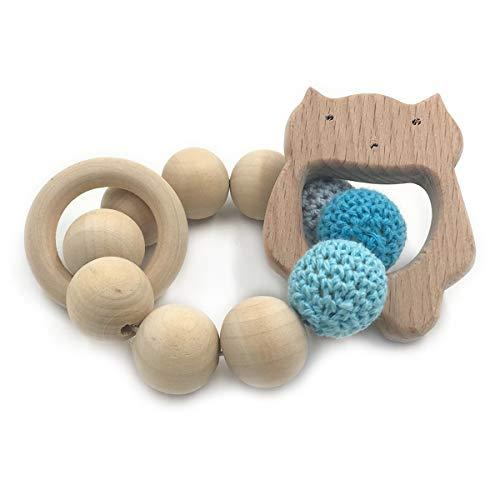 Wendysun Crochet Bead Teething Ring Set Untreated Beech Teether with Organic Wood Animal Toy Wood Bracelet Baby Wooden Teether Bangle (Cat -