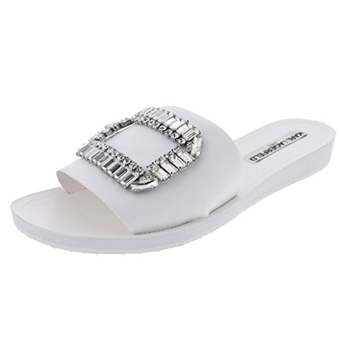 Karl Lagerfeld Paris Womens Mirah 2 Slide Sandals White 6.5 Medium (B,M)