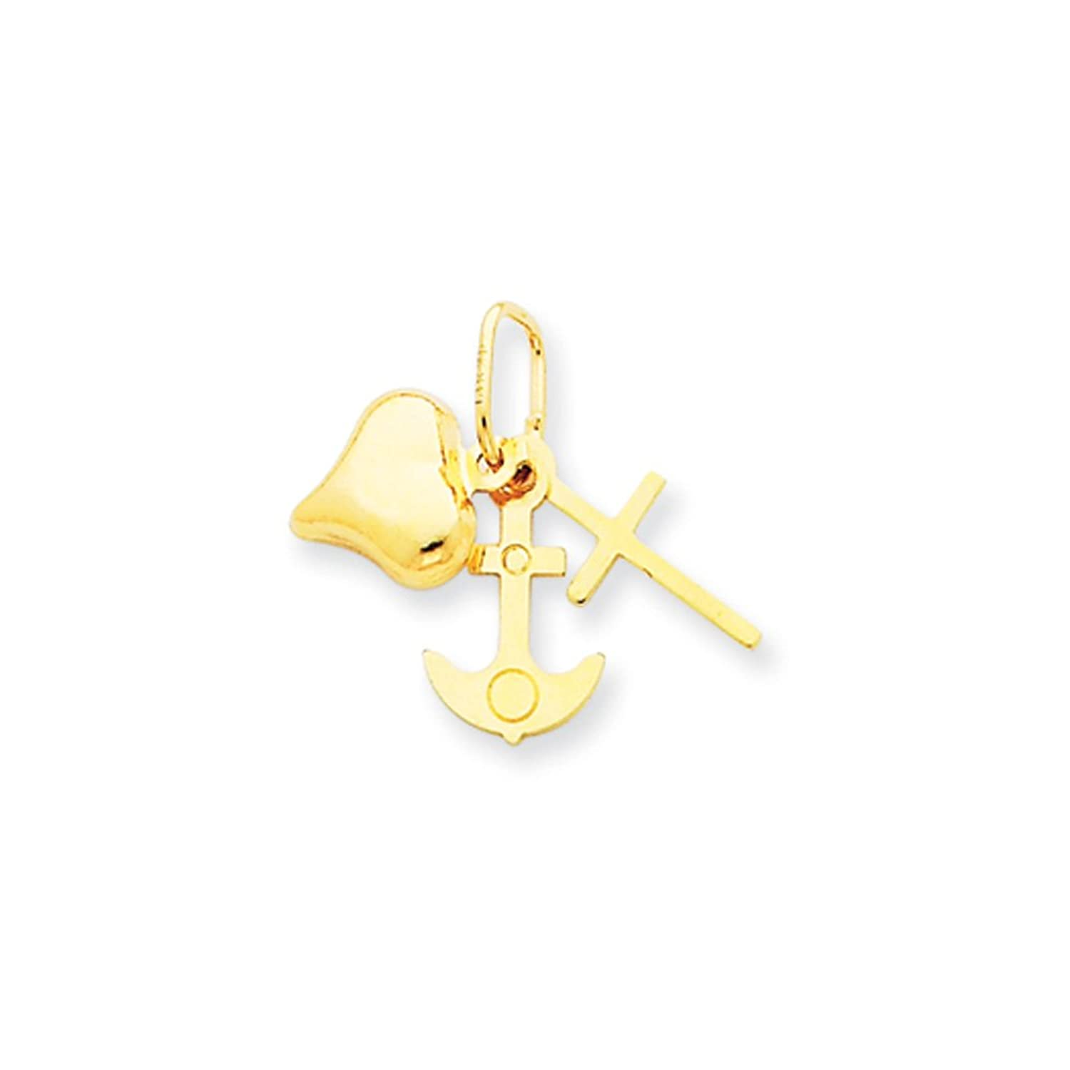14 Karat Gold, Small Faith, Hope and Charity Charm