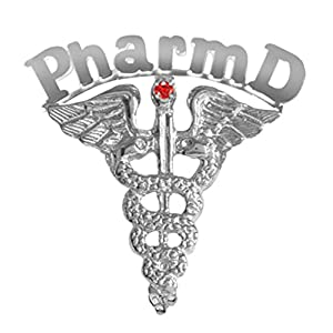 NursingPin Pharm D Graduation Pin with Ruby for Doctor of Phamacy in Silver