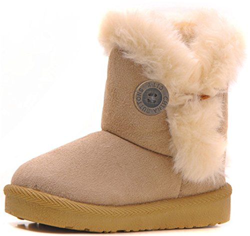 Kids Bailey Button (DADAWEN Baby's Girl's Boy's Cute Flat Shoes Bailey Button Winter Warm Snow Boots Beige US Size 9.5 M)