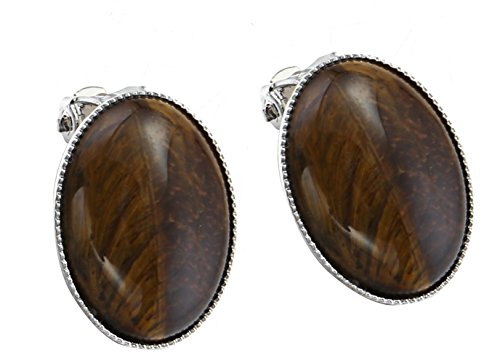 Yellow Oval Synthetic Tiger Eye Stone Clip-On Earrings Jewelry for Women