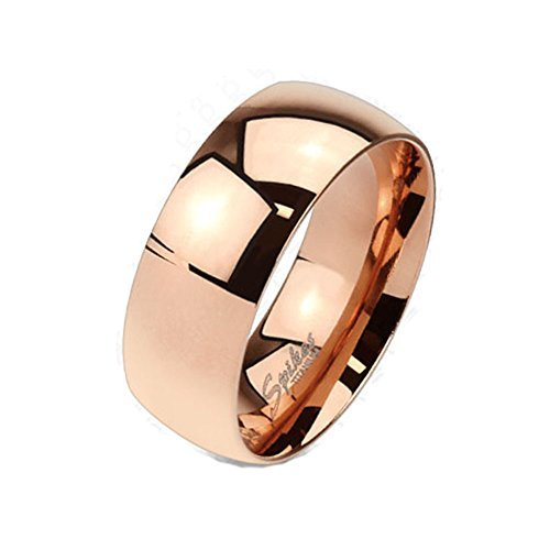 Wide Classic Rose Gold IP Solid Titanium 6mm Width Band Ring R662 (Classic Solid Wide Band)