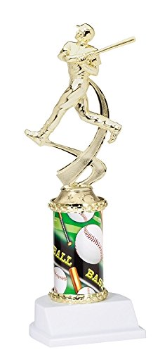 Decade Awards Baseball Sport Motion Figure Sports Column Trophy | Classic Baseball Award | 10 Inch Tall - Customize Now