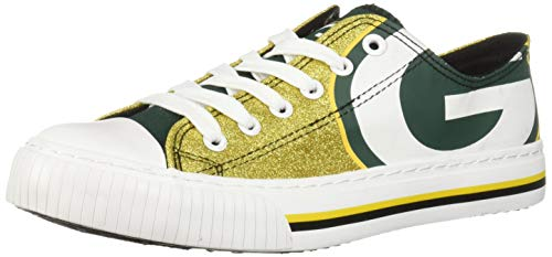 (FOCO NFL Green Bay Packers Womens Glitter Low Top Canvas Shoesglitter Low Top Canvas Shoes, Team Color, 7/Medium)