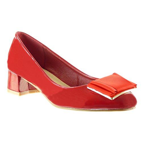 on Bloc 4 Escarpin CM Mode Angkorly Haut Femme Chaussure decolleté Verni Slip Talon Rouge Noeud qP7BBFwIn