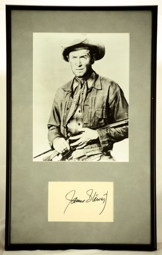Custom Black Metal Frame & Gray Faux Suede Matting - James Stewart Signed 3x5 Card w/ 8x10 B&W Photo - Winchester '73 - Measures 11x18 Inches - One of a ()