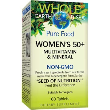 Whole Earth & Sea - Women's 50+ Multivitamin & Mineral, Support for Healthy Aging and Nutritional Needs of Women Over 50 with Plant Sourced Folate, Vitamin B12, and Calcium, Vegan, 60 Tablets