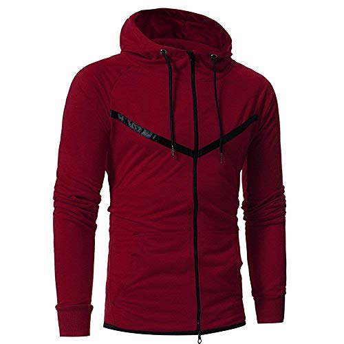Couleur Outwear Veste 12 Manches Cn Tops Hooded Luk Longues Hommes Slim Sweatshirt Gris Casual Rouge À Zhrui Taille 4RqwPvag4
