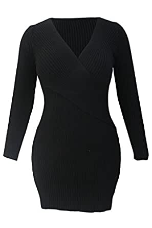 OUR WINGS Black Cross Wrapped V Neck Long Sleeve Ribbed Knitted Dress L
