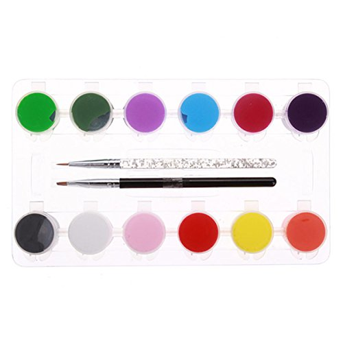 Price comparison product image 3D 12 Colors Acrylic Nail Art Paint Set With Nail Art Brush Pen