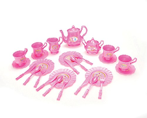 Princess Tea Party Set with Pretend Play Pink Tea Pots and Kitchen Utensils (29 pcs) by Liberty Imports