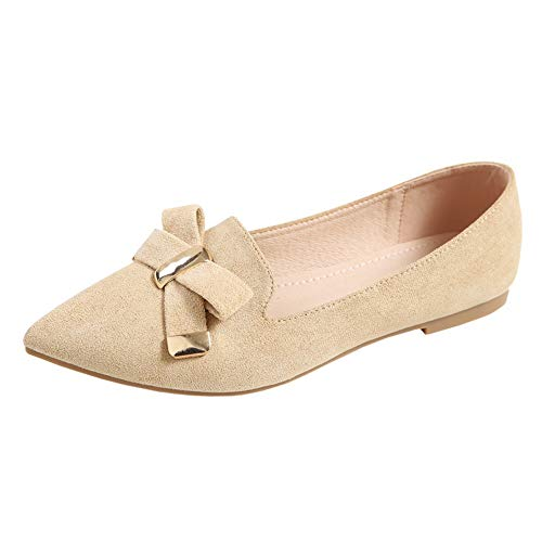FLYRCX shoes work ladies mouth flat shoes 37 point shoes Fashion office shallow bow EU single azParA