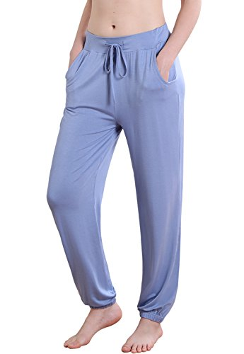 Vislivin Women's Stretch Knit Pajama Pants Modal Sleep Pant Blue Thin L
