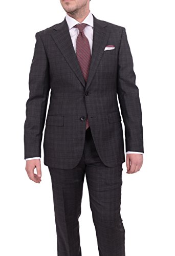 Charcoal Super 150's Wool Suit (Napoli Slim Fit Charcoal Gray Plaid Half Canvassed Super 150's Wool Suit)