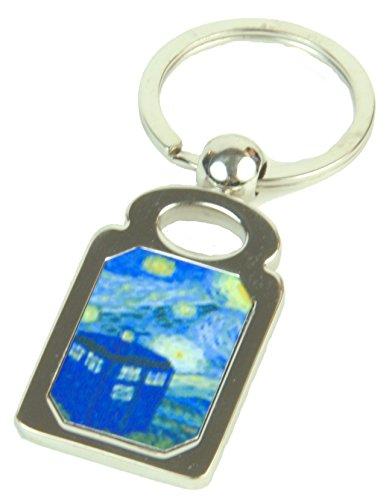 Doctor Who Keyring Starry Night Key Chain, Van Gogh with Tardis