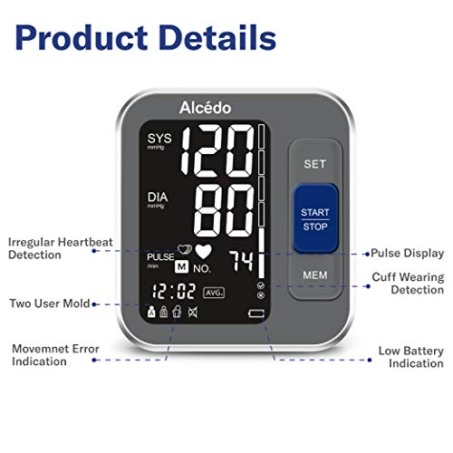 Alcedo Blood Pressure Monitor Upper Arm, Automatic Digital BP Machine with Wide-Range Cuff for Home Use, Backlit Screen, 2x120 Reading Memory, Talking Function