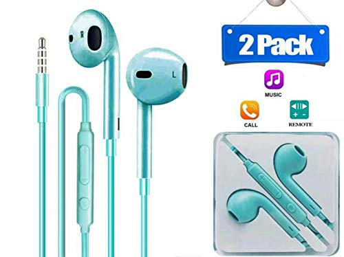 Earphones Headphones,2 Pack Earbuds Premium Hands-Free Noise Isolating in-Ear Earphones with Remote & Mic Compatible with Smartphone, MP3/MP4 Player, Tablet and All 3.5mm Audio Device (2-Pack, Green)