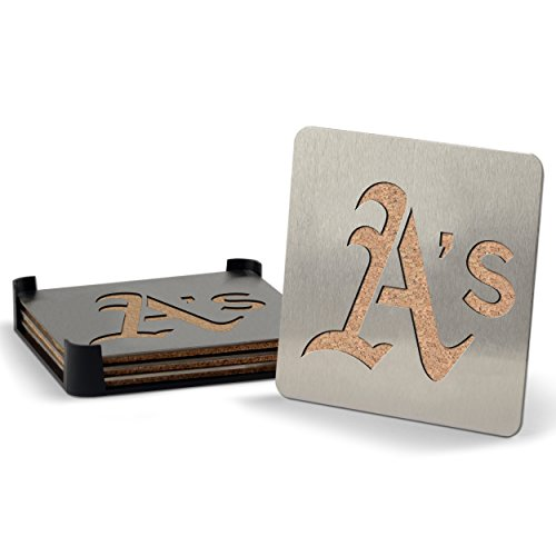 MLB Oakland Athletics Boasters, Heavy Duty Stainless Steel Coasters, Set of 4 - Oakland Athletics Design