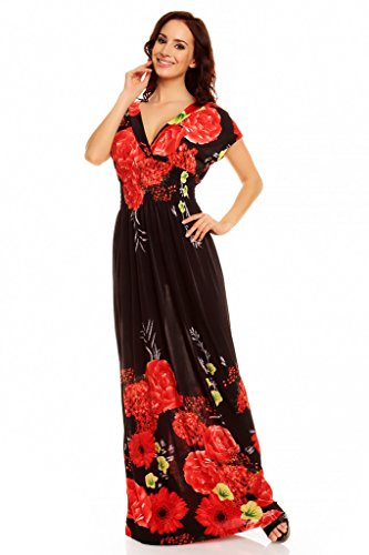 flores Dress largo Vestido leopardo estampado Rosas con My Evening Negro Rojas y veraniego nqST5ax0w