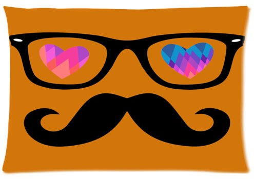Pillowcase Pillow Cover Art Painting Glasses and Mustache Zippered Pillow Protector 20x30 inch (one side)
