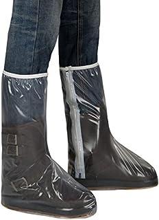 Ebilun pluie Couvre-chaussures imperméable High-top antidérapant Chaussures de bottes de surchaussures Housse Fermeture Éclair pour homme et femme XL Blanc