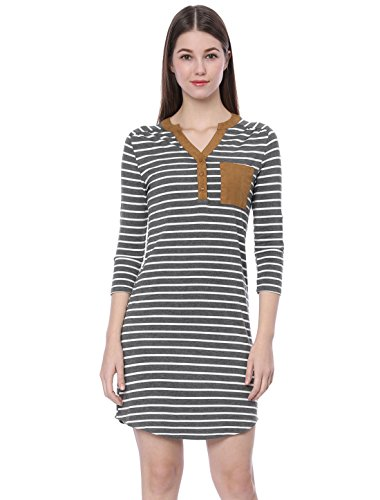 Handle K Dress Lady Knee cinturino con Button Allegra 4 grigio Stripe Superior 3 qpE48d