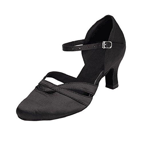 Baysa Women's Comfortable Low Heel Satin Wedding Ballroom Latin Taogo Dance Shoes (US7, Black)