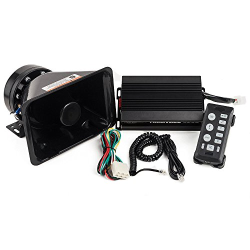 YHAAVALE 6203 Car Amplifier Police Siren & Black Plastic Speaker ,DC12V 100W Multi-tones Wired Control with Mic Loudspeaker Emergency Electronic PA System (Horn Multi Tone)