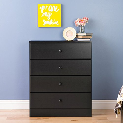 4-Drawer Dresser, Black, It'S Contemporary Design And Clean Lines Will Complement Any Decor. Use On Its Own Or Pair It With Other Matching Pieces From The Bella Collection