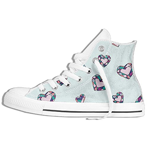 Gem Hearts High Top Classic Canvas Shoes Fashion Sneaker White qxFFfVE5G