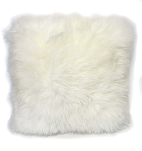 Surell Pure Lambswool Shearling Lambskin Throw Pillow - Natural Fur Pillow - Perfect Housewarming or Home Decor Gift