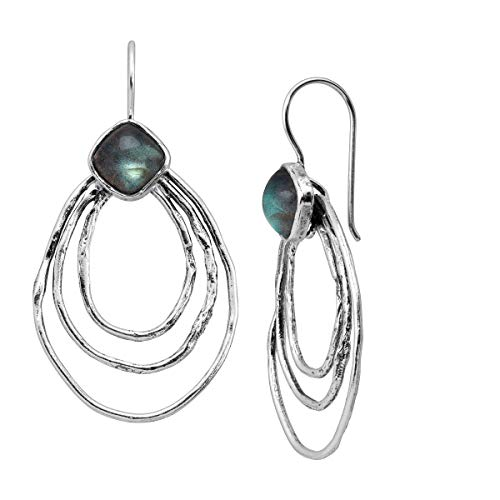 Silpada 'Eclipse' 2 3/4 ct Natural Labradorite Drop Earrings in Sterling Silver