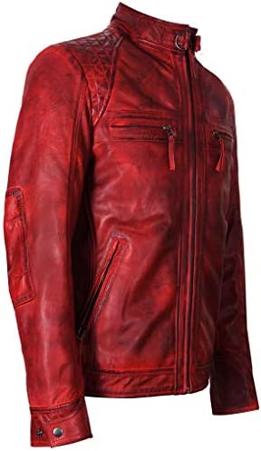 Men's Red Vintage Retro Quilted Real Nappa Leather Jacket