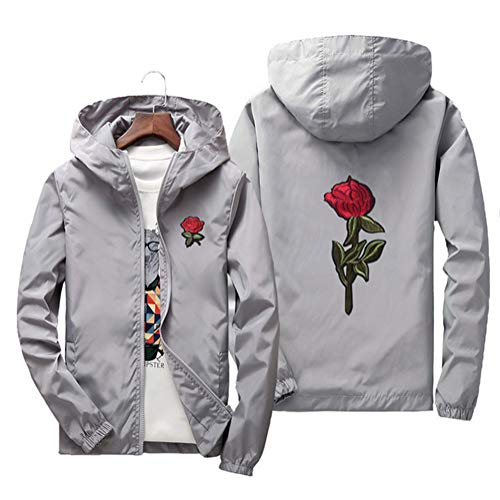 - Sunisery Men's Women Casual Hooded Jacket Windbreaker Embroidery Rose Spring Fall Streetwear College Style (XL, Gray)