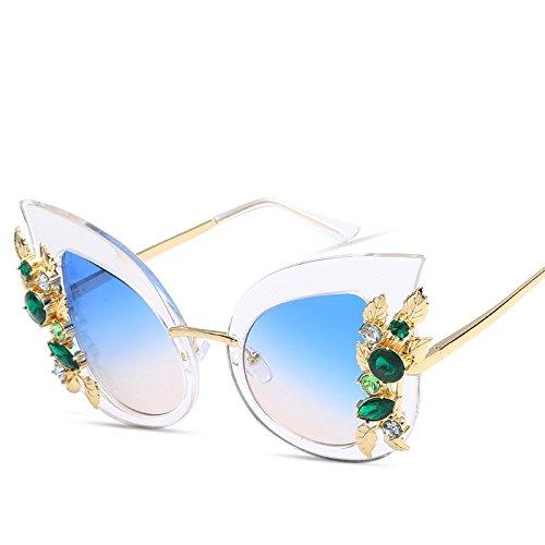 Uv400 clear Ojo Negro De Gafas De TIANLIANG04 Gato Ojo Gato blue De Mujeres Gris Sol with Gafas t6Axw7q