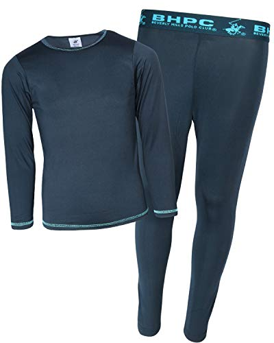 (Beverly Hills Polo Club Boys 2-Piece Performance Thermal Underwear Set, Navy/Turquoise, Size Medium (8/10))