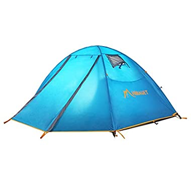 Himaget Outdoor 2 Person Camping Tent/Backpacking Tents with Carrying Bag, Two Windows and with Aluminum Pole Frame Blue1011