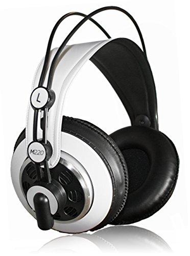 AKG M220 Pro Stylist Professional Large Diaphragm DJ Semi-Open High Definition Over-Ear Studio Headphones - White