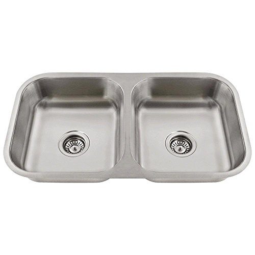 - ADA3218A 18-Gauge Undermount Equal Double Bowl Stainless Steel Kitchen Sink