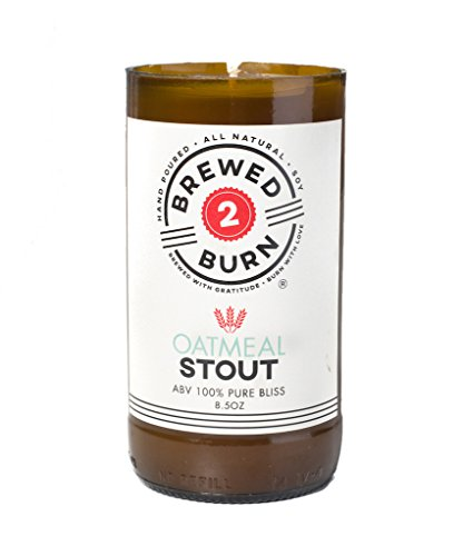 Brewed2Burn - Oatmeal Stout Craft Beer Scented Candle 8.5oz All-Natural Soy Wax - Hand-Poured Authentic Beer Bottle ABV 100% Pure Bliss | Warm & Comforting: Oatmeal, Ginger, Clove & Cinnamon