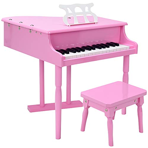 Goplus Classical Kids Piano, 30 Keys Wood Toy Grand Piano w/ Bench, Musical Instrument Toy, Great Gift for Girls and Boys (Pink)