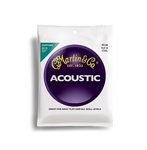 Martin M130 Silk & Steel Folk Guitar Strings, Light