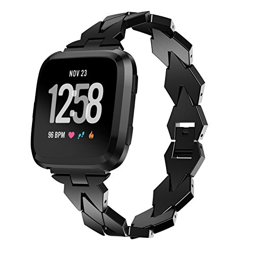patrohoo For Fitbit Versa Metal bands, Replacement Assesories Straps for Fitbit Versa Women/Men Silver Rose Gold Black